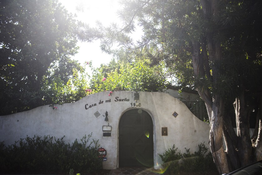 The front entrance to Casa de Mi Sueño, a 1930s-era Mt. Washington Spanish Adobe restored and updated by husband and wife owners Peter Luttrell and Stephanie White.