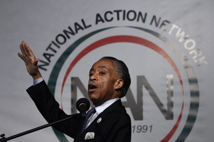 The Rev. Al Sharpton, seen here in May, joined the family of Eric Garner in a series of public protests Saturday. Garner died after officers tried to arrest him, and allegedly placed him in a chokehold.