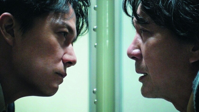 "Masaharu Fukuyama, left, and Koji Yakusho in the movie ""The Third Murder."""