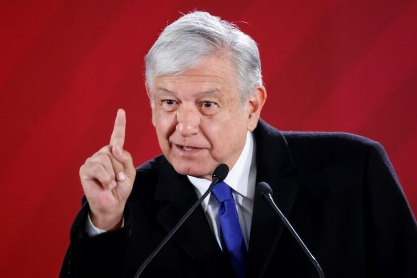 Mexico's President, Andres Manuel Lopez Obrador, speaks during his morning press conference at the National Palace, in Mexico City, Mexico, 17 January 2019. The president of Mexico, Andres Manuel Lopez Obrador, said today that, in addition to the theft of gasoline, illegal petroleum is also illegally stolen for export in platforms of Petróleos Mexicanos (Pemex). EPA- EFE/Jose Mendez