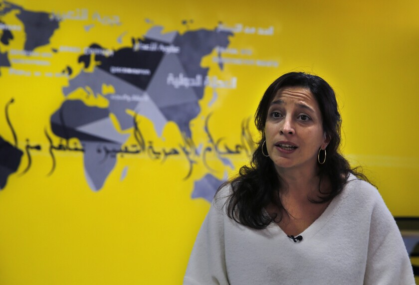 Lynn Maalouf, deputy director of research at Amnesty International Middle East and North Africa, speaks during an interview in Beirut, Lebanon,o n Feb. 6, 2017.