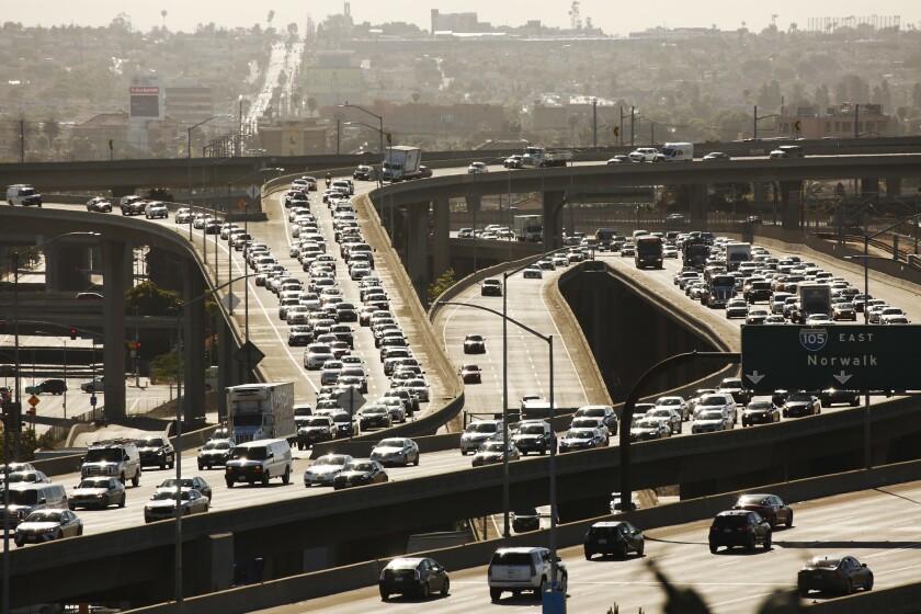 EL SEGUNDO, CA - MAY 20, 2019 - Los Angeles traffic on the 105 freeway near the 405 interchange Mon