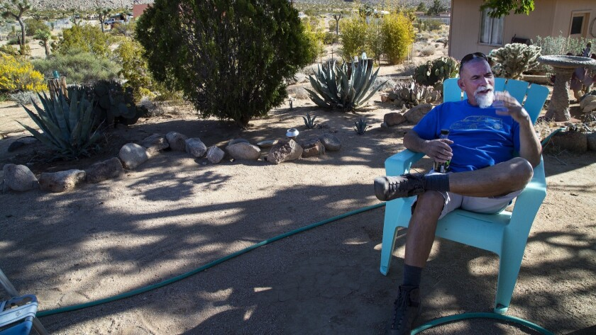 JOSHUA TREE, CA - MAY 15, 2018: Mark Grdner (CQ) of Joshua Tree is a longtime homeowner who is sur