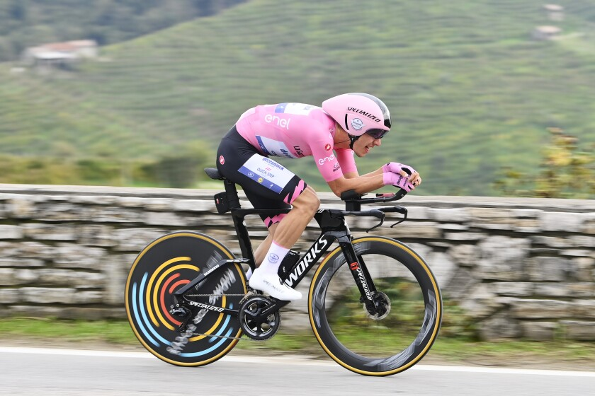 Portugal's Joao Almeida competes during the 14th stage of the Giro d'Italia cycling race, an individual time trial from Conegliano to Valdobbiadene, Italy, Saturday, Oct. 17, 2020. (Fabio Ferrari/LaPresse via AP)