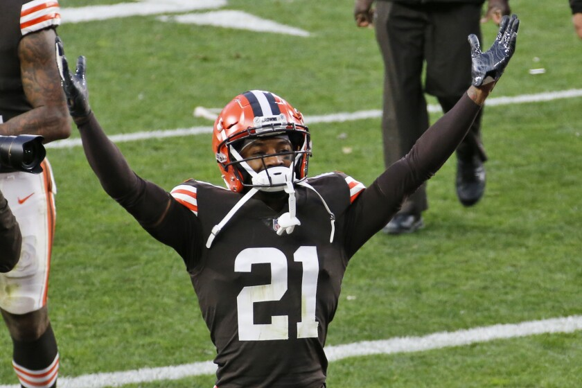 Cleveland cornerback Denzel Ward celebrates after the Browns defeated the Houston Texans on Nov. 15, 2020.