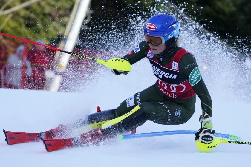 United States' Mikaela Shiffrin competes during an alpine ski, women's World Cup slalom in Zagreb, Croatia, Thursday, Jan. 5, 2020. (AP Photo/Giovanni Auletta)