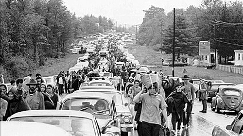 Massive traffic jams were the rule of thumb at the 1969 Woodstock festival.