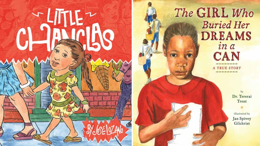 """""""Little Chanclas,"""" left, by Jose Lozano, and """"The Girl Who Buried Her Dreams in a Can"""" by Tererai Trent."""