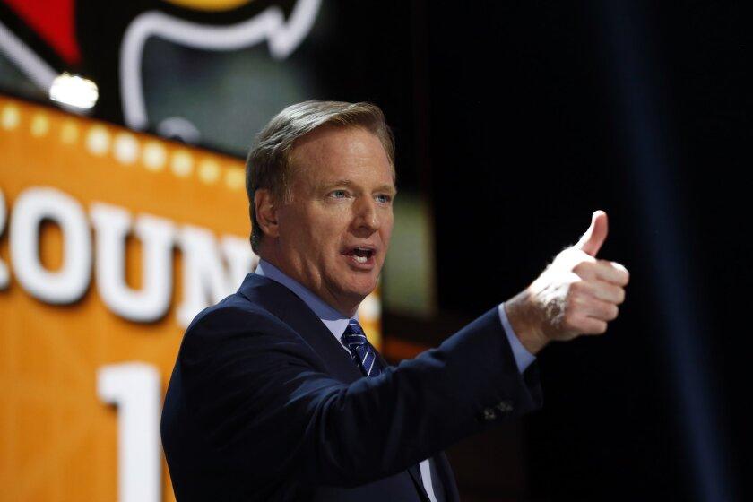 NFL Commissioner Roger Goodell spoke during Round 1 of the NFL draft Thursday night.