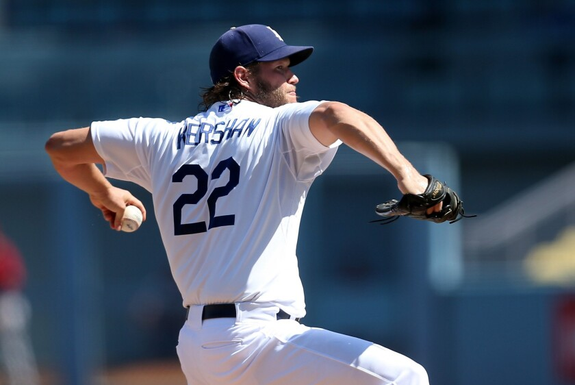 Dodgers starter Clayton Kershaw was pulled after five innings against the Diamondbacks on Thursday afternoon.