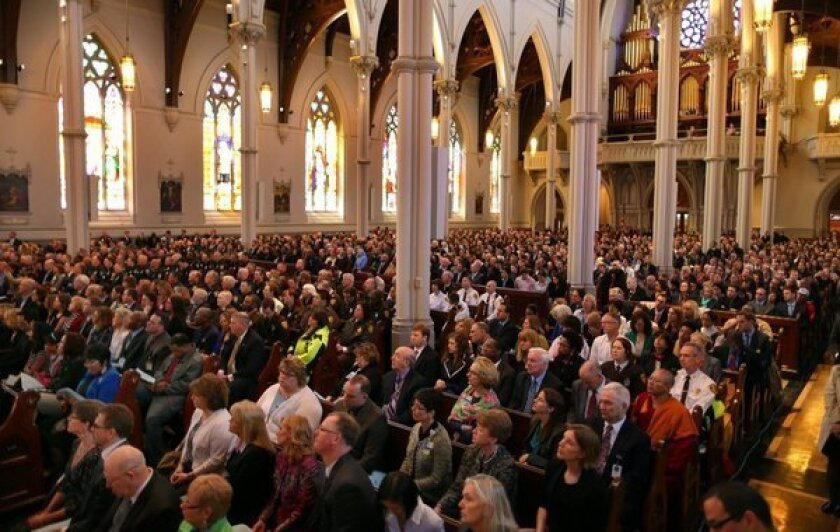 Congregation at April 18 interfaith service for Boston bombing victims at Cathedral of the Holy Cross.