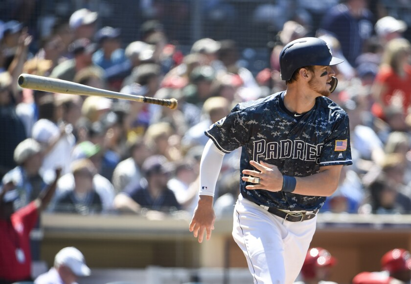 Wil Myers runs after hitting an RBI double against the Cincinnati Reds on April 21, one of just seven hits in his past 55 plate appearances.