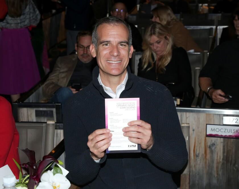 L.A. Mayor Eric Garcetti at the Hollywood Bowl's season-opening night.