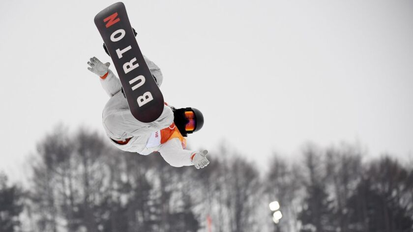 Shaun White competes during the Snowboard Men's Halfpipe Final at the PyeongChang 2018 Winter Olympics at Phoenix Snow Park on Wednesday.