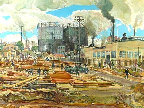 BENSON LUMBER YARD, C. 1937 Charles Reiffel (1862