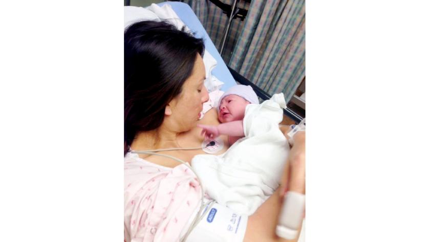 Former La Cañada Elementary School Principal Christine Castillo delivered baby girl Alissa on Dec. 19, 2012. Castillo is suing La Cañada Unified School District for discrimination.