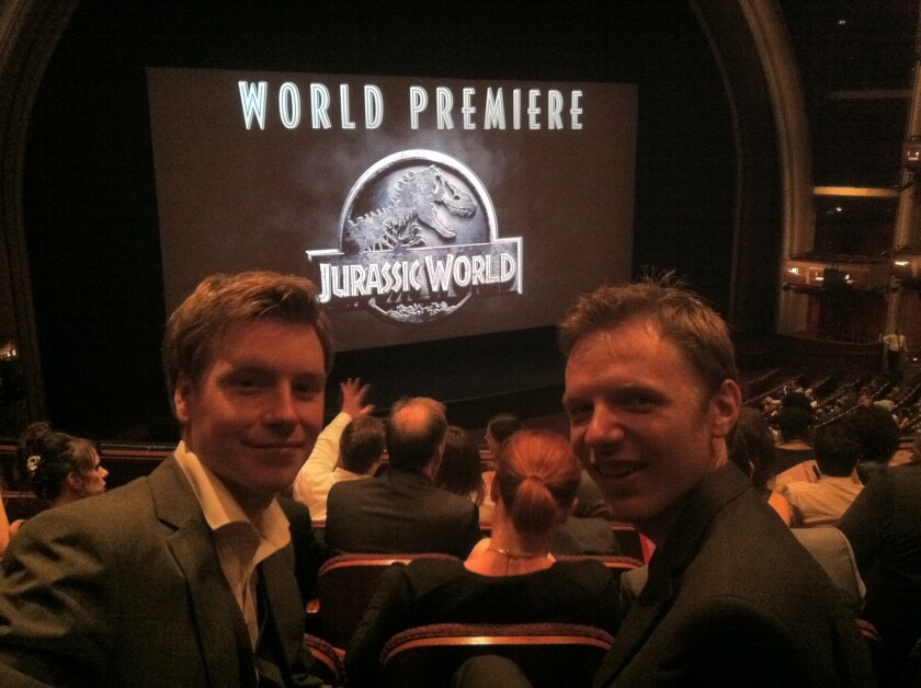 """""""Jurassic Park"""" fans Jack Anthony Ewins and Timothy Glover at the """"Jurassic World"""" premiere. They were drafted into Universal's marketing efforts after they created a website based on a leaked character."""