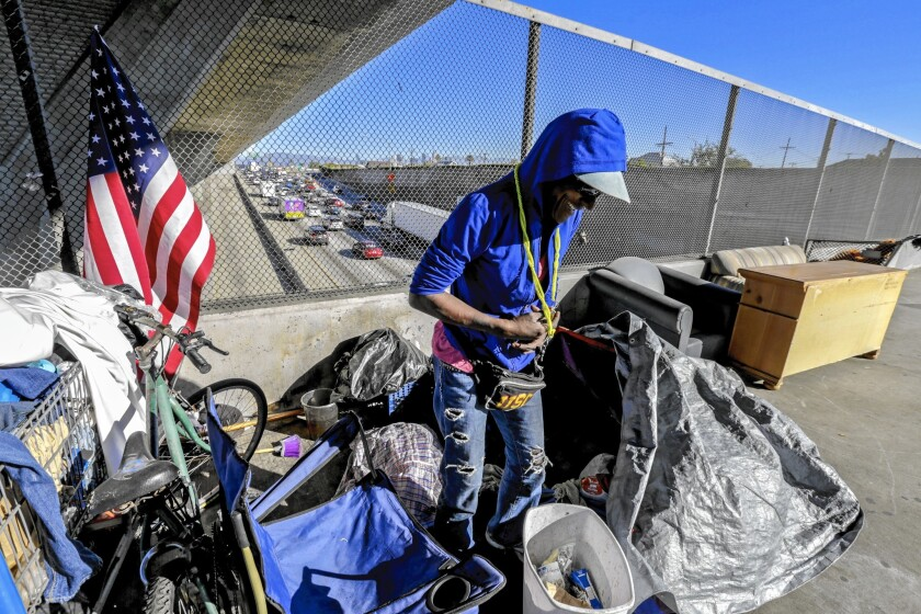 Alice Myles, 60, steps out of her tent, pitched on the 42nd Street bridge over the 110 Freeway. About 26,000 men, women and children are homeless in L.A.