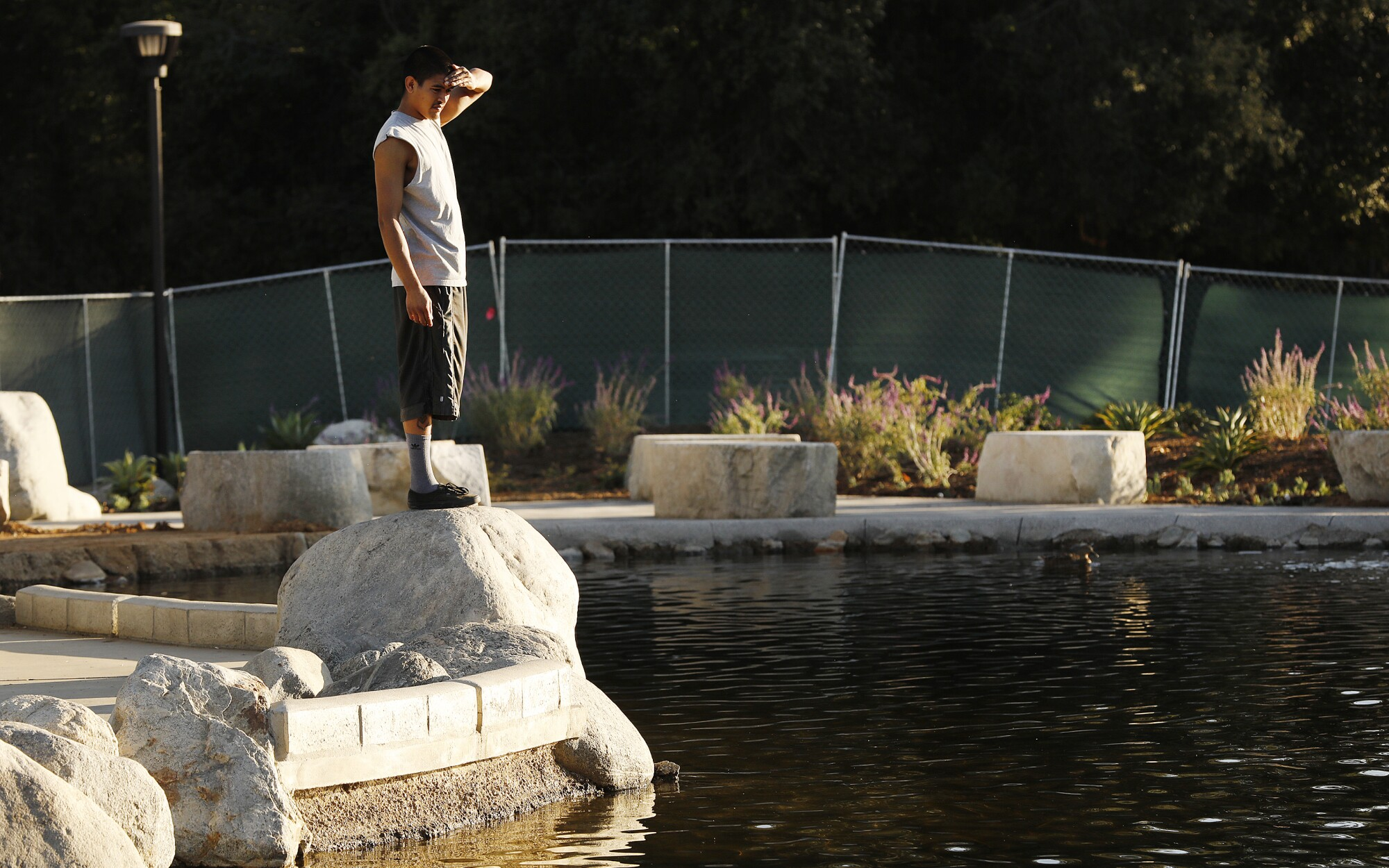 Juan Sarai looks at the Healing Garden at Conejo Creek North Park