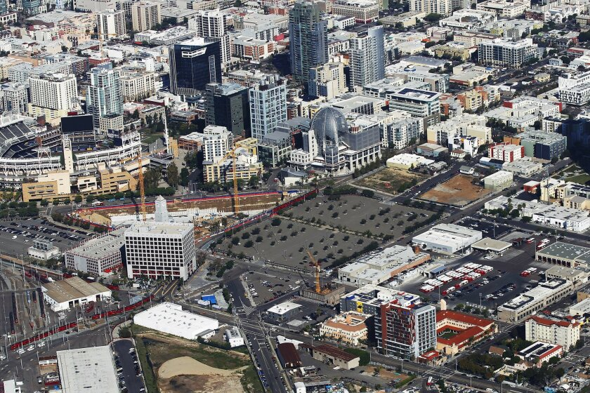 One of the proposed sites of a new Chargers stadium is next to Petco Park.