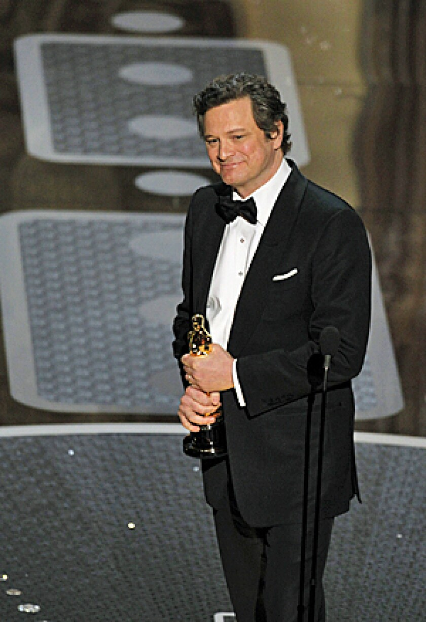 Colin Firth accepts his Oscar for Best Actor during the show of the 83rd Annual Academy Awards at the Kodak Theatre in Los Angeles, CA on February 27, 2011.