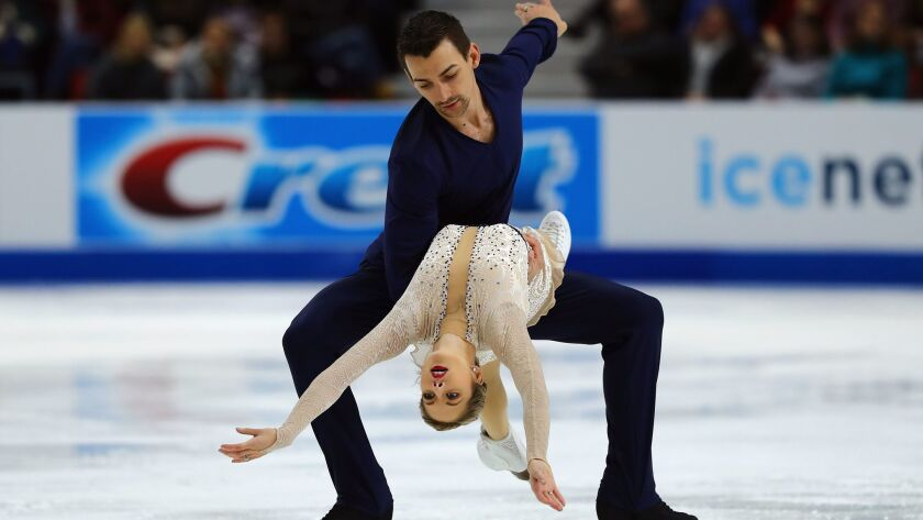 Alexa and Chris Knierim compete in the short program at Skate America last November in Lake Placid, N.Y., where they finished fifth.