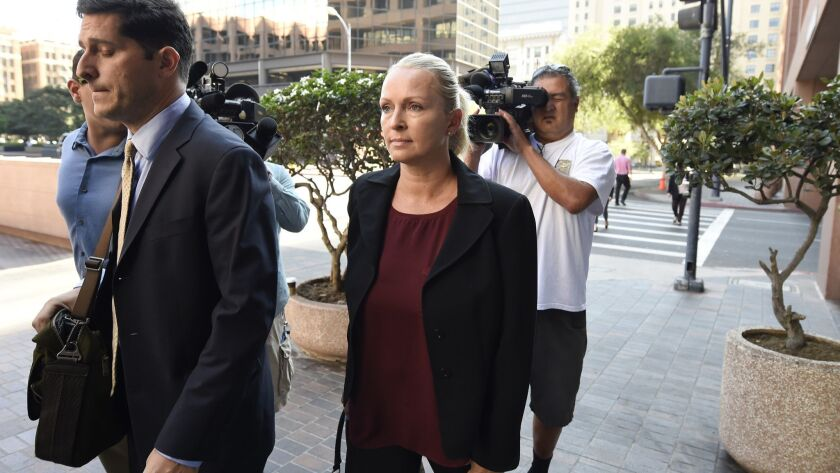 Margaret Hunter, the wife of U.S. Rep. Duncan Hunter, arrives for an arraignment hearing in San Diego on Aug. 23, 2018.
