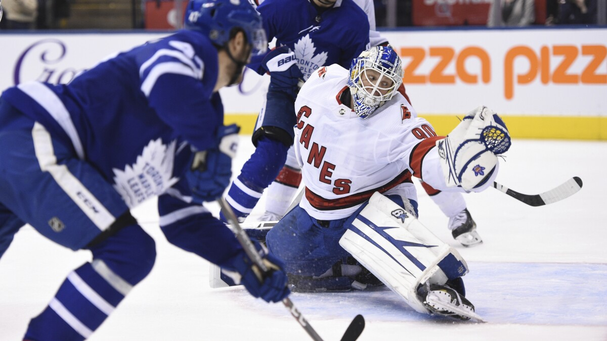 Hurricanes Beat Maple Leafs With Help Of Emergency Goaltender Los Angeles Times