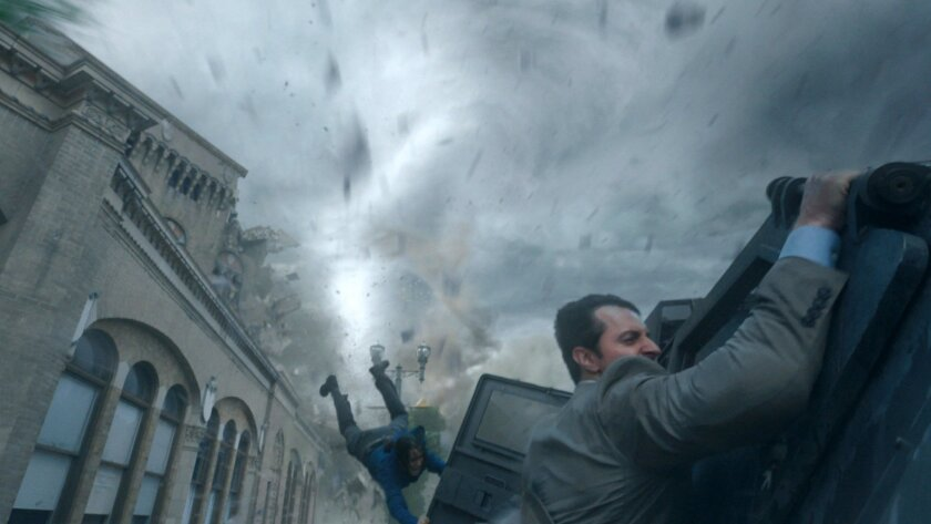 "This image released by Warner Bros. Entertainment shows Richard Armitage, right, in a scene from ""Into The Storm."" (AP Photo/Warner Bros. Entertainment)"