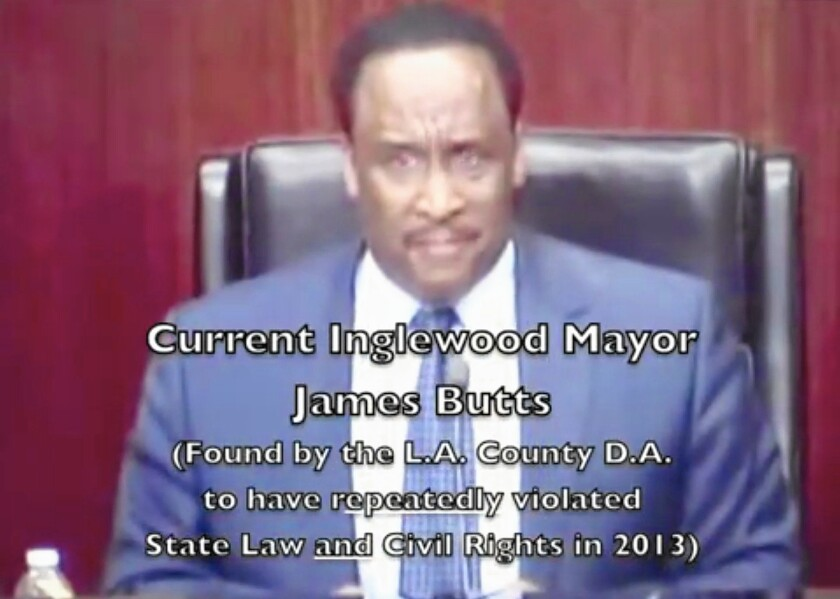 Inglewood Mayor James T. Butts Jr. is pictured in a screenshot from a YouTube video by resident Joseph Teixeira.