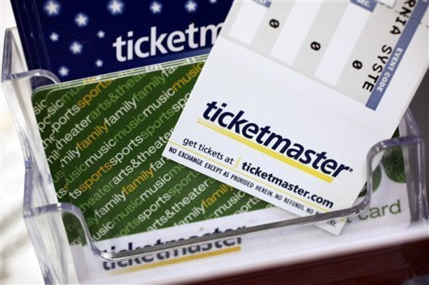 FILE - In this May 11, 2009 file photo, Ticketmaster tickets and gift cards are shown at a box office in San Jose, Calif. Ticketmaster Entertainment Inc. is expected to release third-quarter financial results Monday, Nov. 9, 2009. (AP Photo/Paul Sakuma, file)