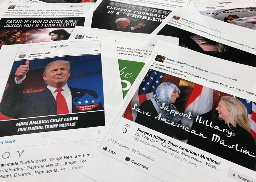 Some of the Facebook and Instagram ads linked to a Russian effort to disrupt the American political