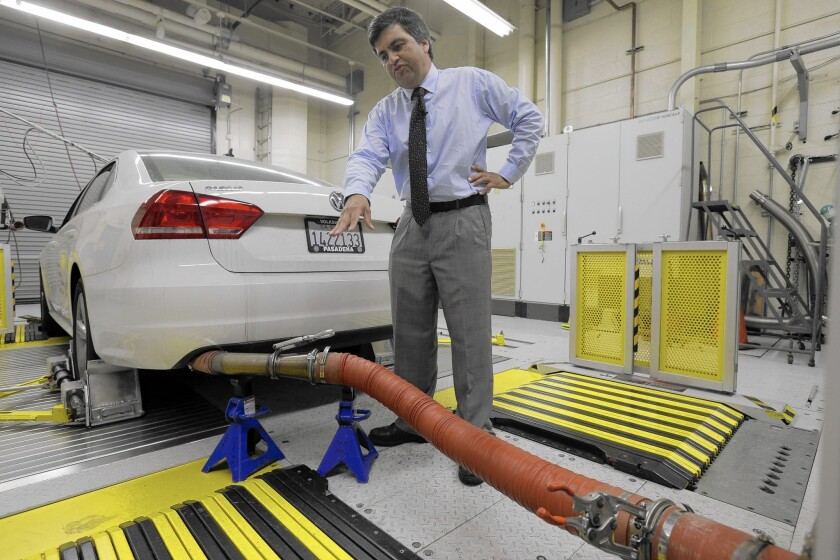 John Swanton, spokesman for the California Air Resources Board, with a diesel-powered 2013 Volkswagen Passat at the emissions test lab in El Monte.