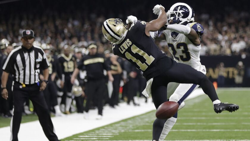 New Orleans Saints wide receiver Tommylee Lewis (11) works for a coach against Los Angeles Rams defe