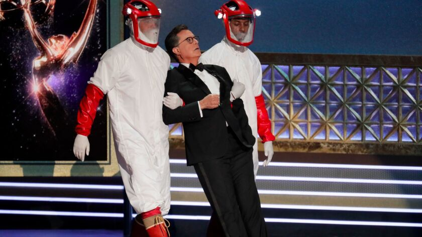 "Emmys host Stephen Colbert being carried out of stage in a bit inspired by HBO's ""Westworld."""