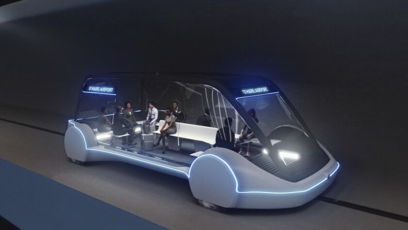 This undated artist's rendering provided by The Boring Company, shows an electric public transportat