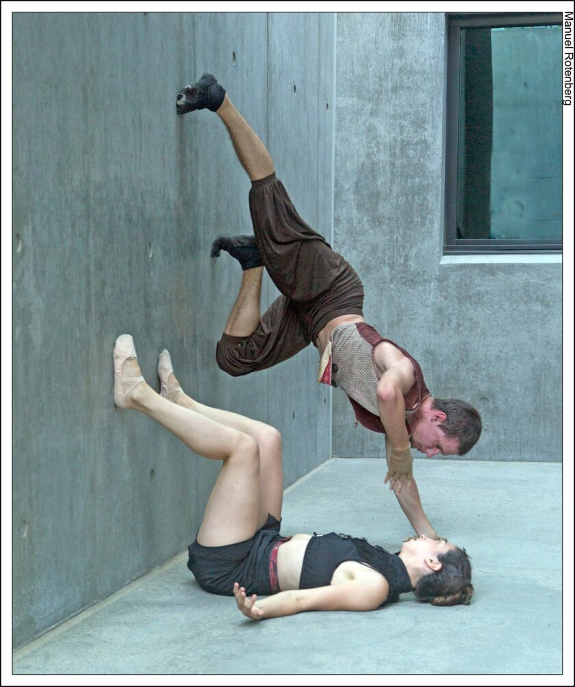 """Ariana Seigel and Jedi Taylor in Jean Isaacs San Diego Dance Theatre's production of """"Dances with Walls."""""""