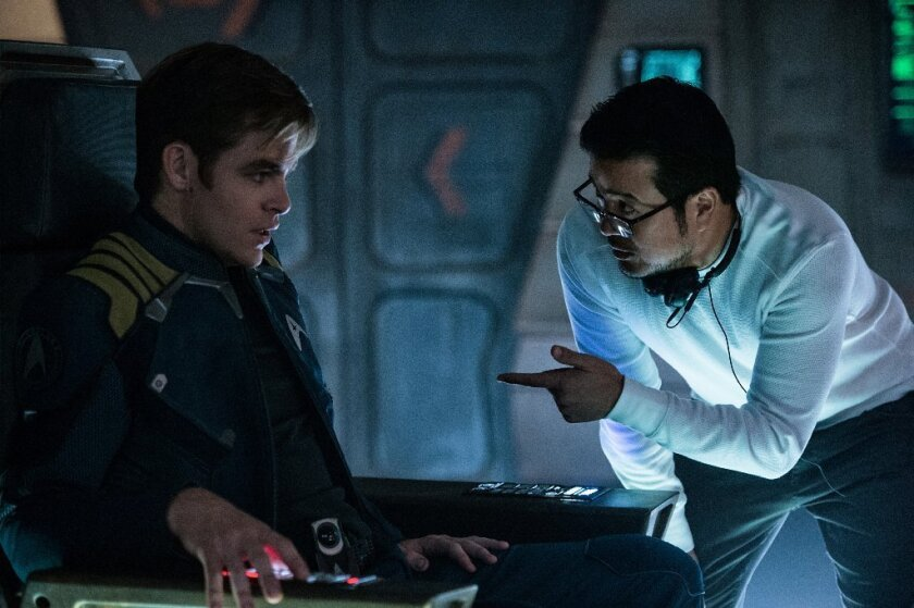"Chris Pine and director Justin Lin talk on the set of ""Star Trek Beyond."""