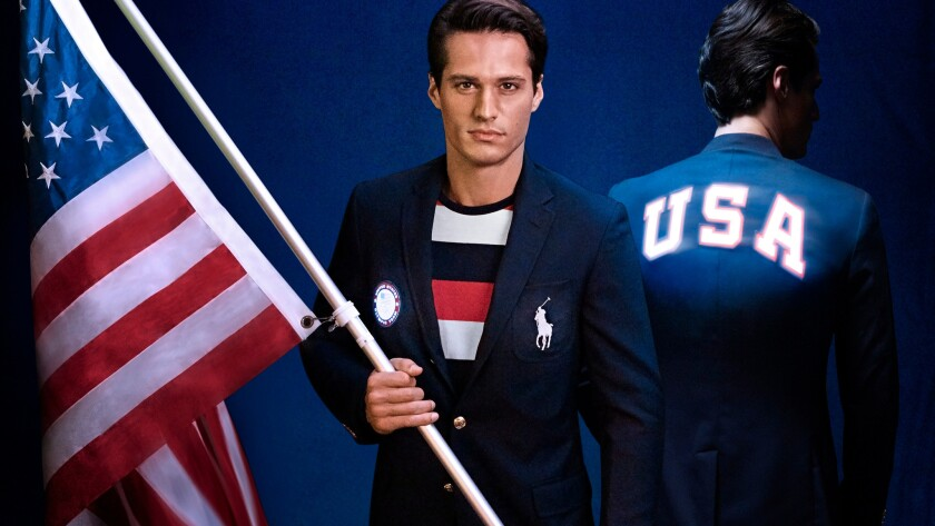 The Polo Ralph Lauren flag-bearer's jacket augments the red, white and blue color combination with the light-up letters USA across the back.