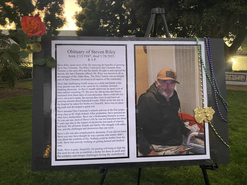 Friends of Steven Riley held a memorial and vigil for him in San Clemente on Feb. 16.