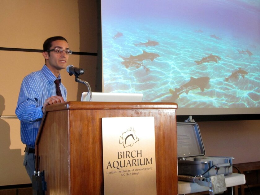 Andy Nosal, Scripps Institution of Oceanography doctoral candidate, presents his research on the yearly aggregations of leopard sharks off the coast of La Jolla Shores during a Perspectives lecture at Birch Aquarium. Claire Discenza