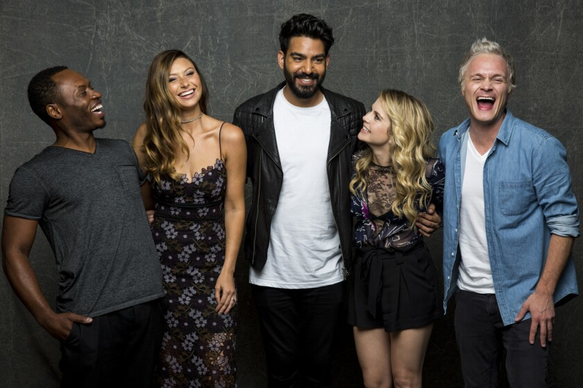 alcom Goodwin, Rose McIver, Rahul Kohli, Aly Michalka, and David Anders of 'iZombie,' photographed in the L.A. Times Hero Complex photo studio at Comic-Con 2016.