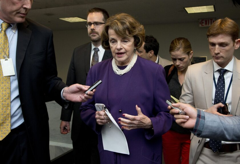 Sen. Dianne Feinstein of the Senate Intelligence Committee with reporters on Capitol Hill on June 3.
