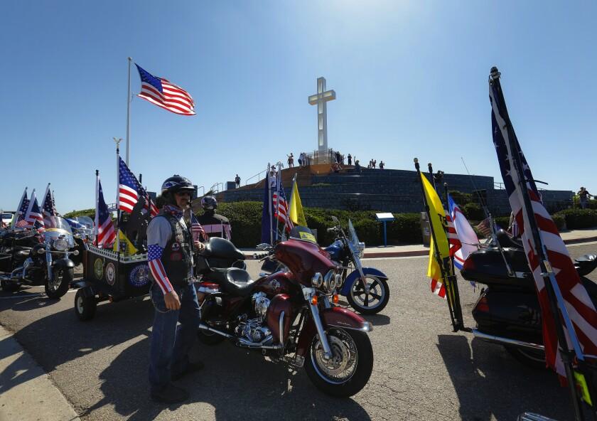 Motorcycle riders at the Mount Soledad National Veterans Memorial in La Jolla.