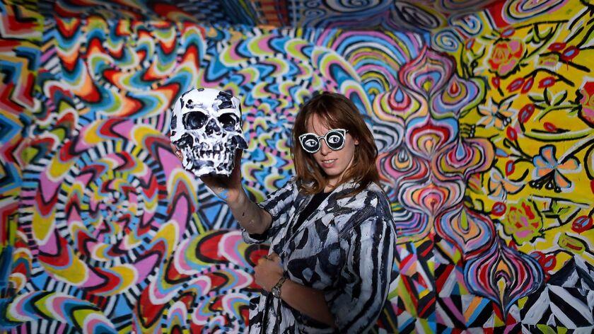 """LOS ANGELES, CA, FRIDAY, DECEMBER 1, 2017 - Artist Alexa Meade strikes a pose in her installation """"B"""