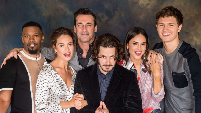 """Director Edgar Wright, center, can't watch """"Ant-Man."""" He's pictured with the """"Baby Driver"""" cast: Jam"""