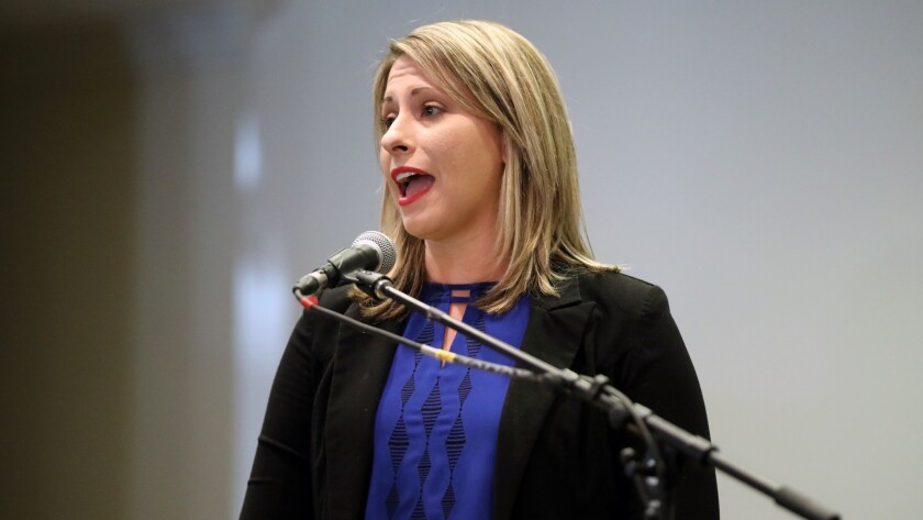 LANCASTER, CALIF. -- MONDAY, SEPTEMBER 10, 2018: Congressional candidate Katie Hill answers question