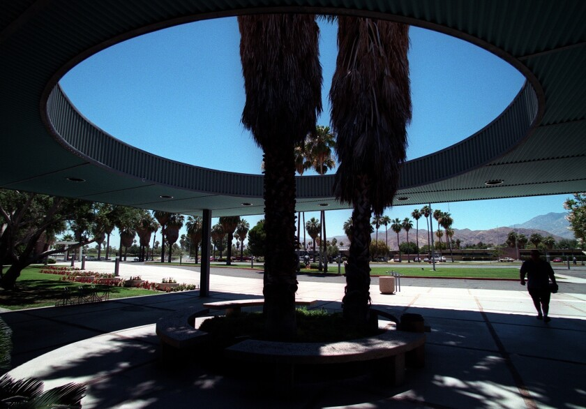 An FBI spokeswoman on Tuesday said criminal search warrants had been served at Palm Springs City Hall, whose entryway is shown.
