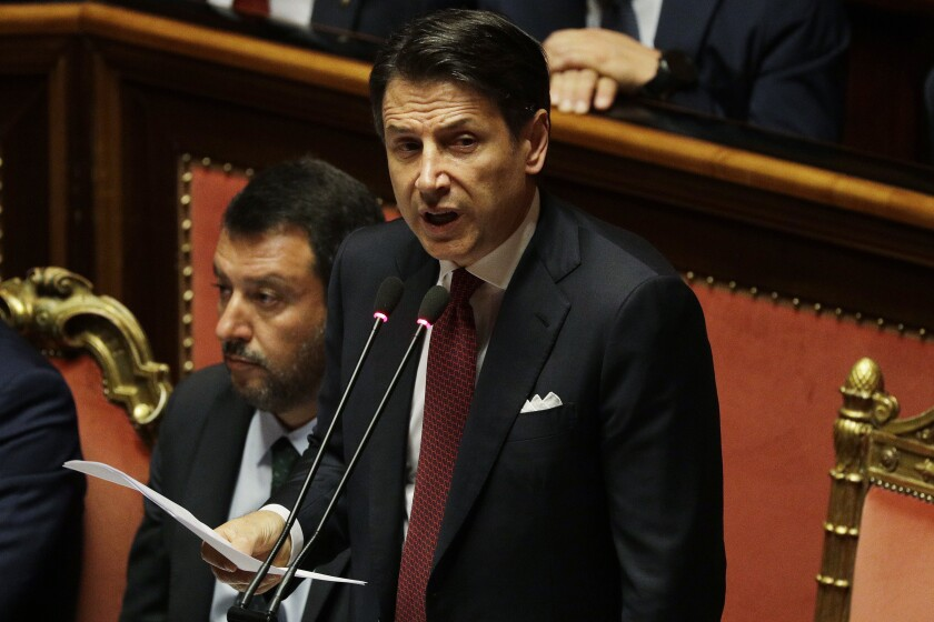 Italian Prime Giuseppe Conte addresses the Senate in Rome.