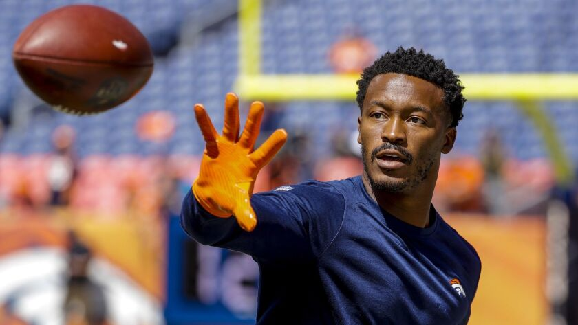 In this Sept. 9, 2018 photo Denver Broncos wide receiver Demaryius Thomas (88) catches a pass before
